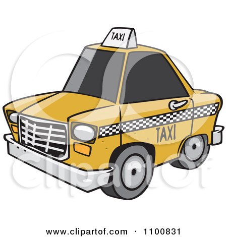 Clipart Cartoon City Taxi Cab - Royalty Free Vector Illustration by toonaday