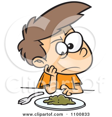 Clipart Cartoon Picky Eater Boy Staring Down Greens - Royalty Free Vector Illustration by toonaday