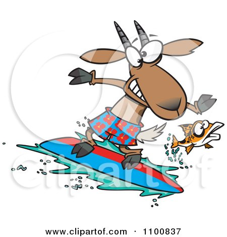 Clipart Fish Leaping Away From A Surfing Goat - Royalty Free Vector Illustration by toonaday