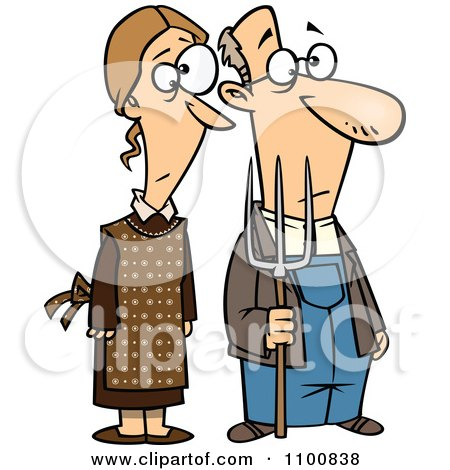 Clipart Gothic Farm Couple With A Pitch Fork - Royalty Free Vector Illustration by toonaday