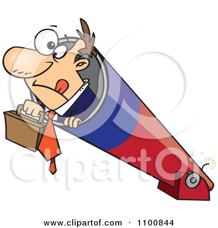 Clipart Businessman Holding His Briefcase And Prepared For Take Off In A Cannon - Royalty Free Vector Illustration by toonaday