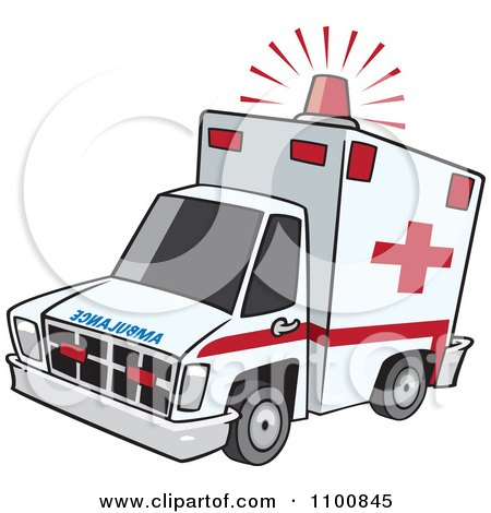 Clipart Emergency Ambulance With Lit Siren Light - Royalty Free Vector Illustration by toonaday