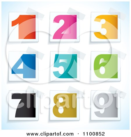 Clipart Colorful Blocky Numbers On Taped Papers - Royalty Free Vector Illustration by michaeltravers