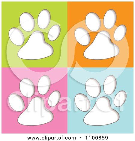 Clipart White Animal Paw Prints On Green Orange Pink And Blue - Royalty Free Vector Illustration by michaeltravers