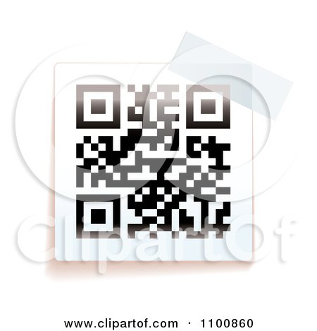 Clipart Black And White QR Code With Tape - Royalty Free Vector Illustration by michaeltravers