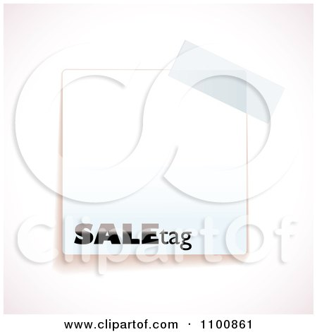 Clipart Blank White Sale Tag With Tape - Royalty Free Vector Illustration by michaeltravers