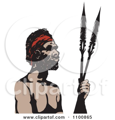 Clipart Illustration of a Black And White Aboriginal Man ...