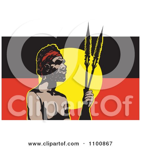 Clipart Aboriginal Man With Spears And An Australian Aboriginal Flag - Royalty Free Vector Illustration by Dennis Holmes Designs