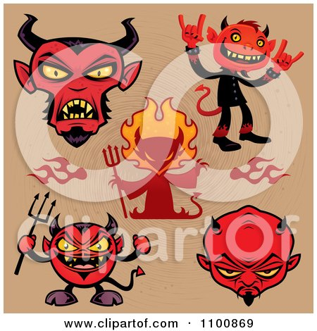 Clipart Red Devils Over Brown - Royalty Free Vector Illustration by John Schwegel