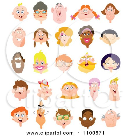 Clipart Happy Diverse Faces - Royalty Free Vector Illustration by yayayoyo