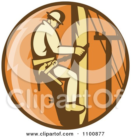 Clipart Retro Linesman Scaling A Pole In An Orange Circle - Royalty Free Vector Illustration by patrimonio