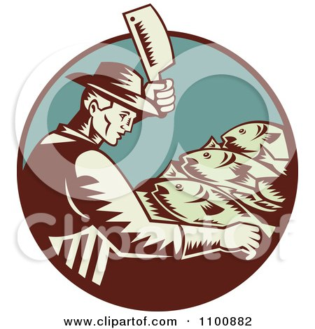 Clipart Retro Fishmonger Butchering Fish With A Cleaver Knife - Royalty Free Vector Illustration by patrimonio