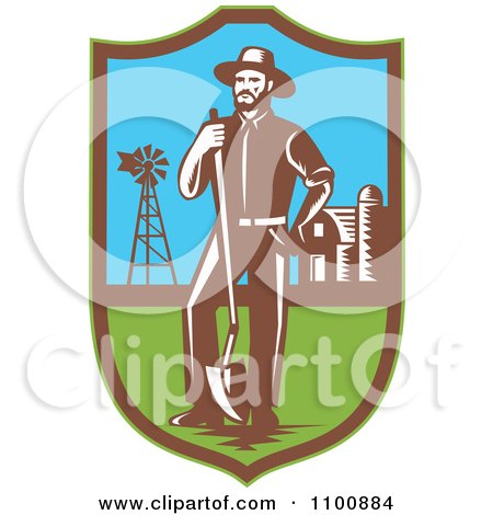 Clipart Retro Farmer With A Shovel Windmill And Barn In A Shield - Royalty Free Vector Illustration by patrimonio