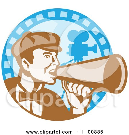 Clipart Retro Movie Director Shouting Through A Cone On A Blue Camera Circle - Royalty Free Vector Illustration by patrimonio