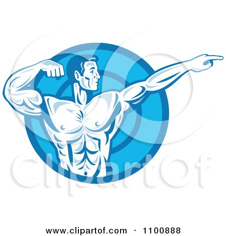Clipart Blue Retro Bodybuilder Flexing And Pointing Over A Blue Circle - Royalty Free Vector Illustration by patrimonio