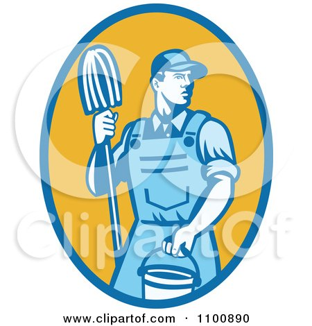Clipart Blue Retro Janitor Holding A Mop And Bucket Over A Yellow Oval - Royalty Free Vector Illustration by patrimonio