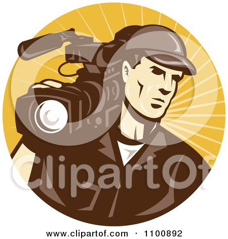 Clipart Retro Camera Man In Brown Uniform Logo - Royalty Free Vector Illustration by patrimonio