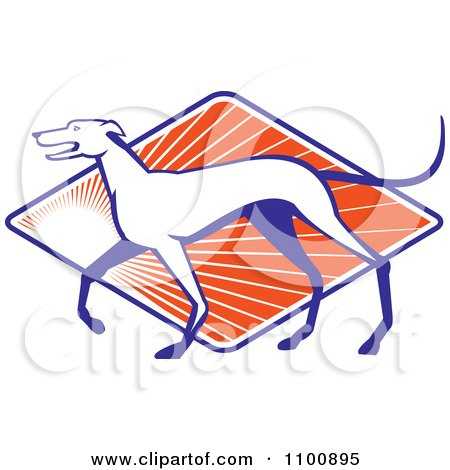 Clipart Retro Greyhound Dog In Profile Over A Diamond Of Orange Rays - Royalty Free Vector Illustration by patrimonio
