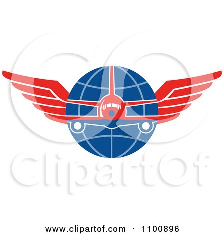 Clipart Retro Jumbo Jet Airplane Over A Grid Globe With Red Wings - Royalty Free Vector Illustration by patrimonio
