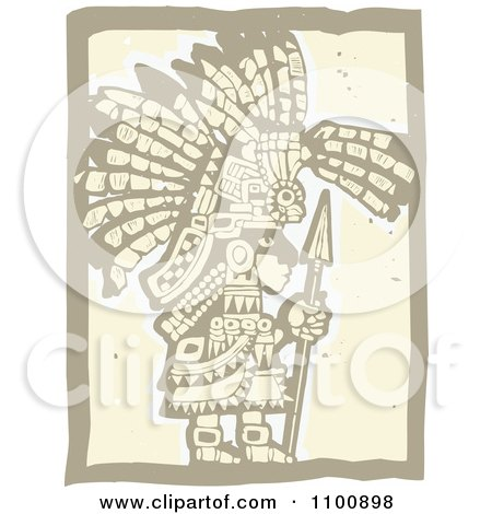 Clipart Teotihuancan Aztec Maya Olmec Warrior In Brown And Beige - Royalty Free Vector Illustration by xunantunich
