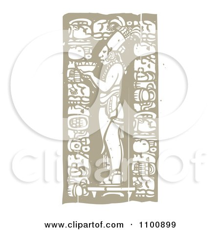 Clipart Mayan God Holding A Bowl Brown And Beige - Royalty Free Vector Illustration by xunantunich