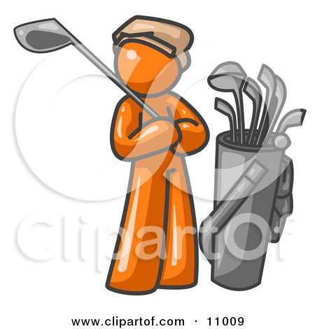 Orange Man Standing By His Golf Clubs Clipart Illustration