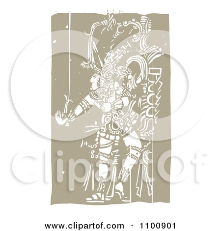 Clipart Mayan King Dancing Brown And Beige - Royalty Free Vector Illustration by xunantunich