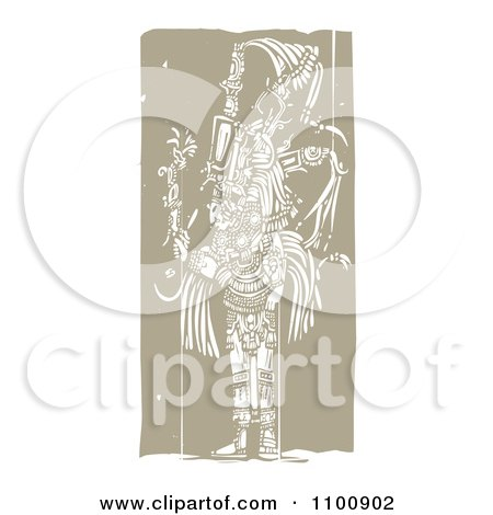 Clipart Mayan King Brown And Beige - Royalty Free Vector Illustration by xunantunich