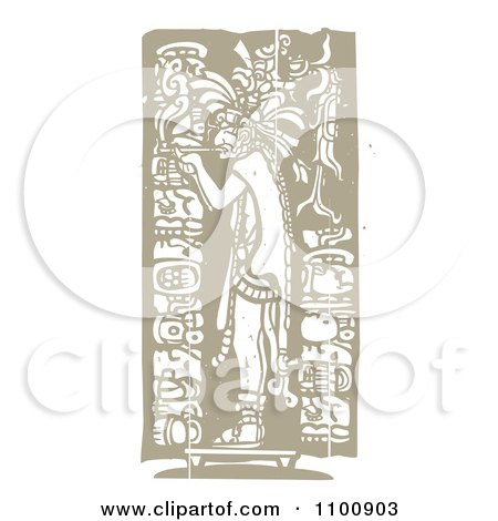 Clipart Mayan King Smoking A Pipe Brown And Beige - Royalty Free Vector Illustration by xunantunich