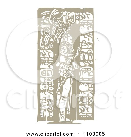 Clipart Mayan King Standing With Totems Brown And Beige - Royalty Free Vector Illustration by xunantunich