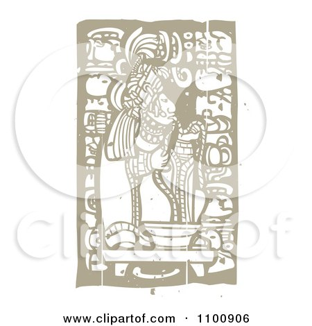 Clipart Mayan King Eating Noodles Brown And Beige - Royalty Free Vector Illustration by xunantunich