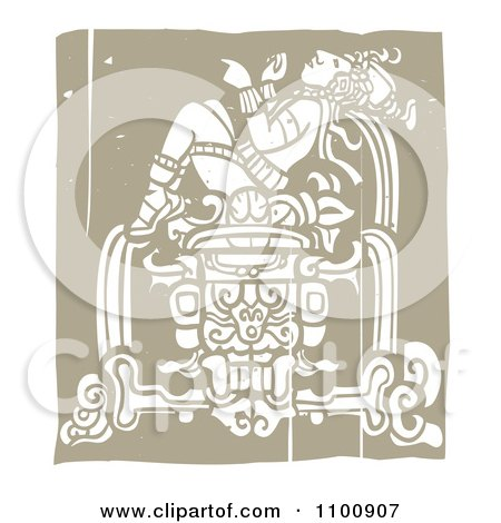 Clipart Mayan King Reclined On A Pedestal Brown And Beige - Royalty Free Vector Illustration by xunantunich