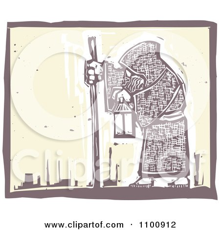 Clipart Woodcut Styled Hermit Man Walking With A Stick And Lantern - Royalty Free Vector Illustration by xunantunich
