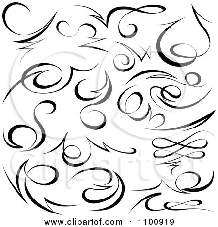Clipart Black Tribal Swirl Calligraphic Design Elements Royalty Free
