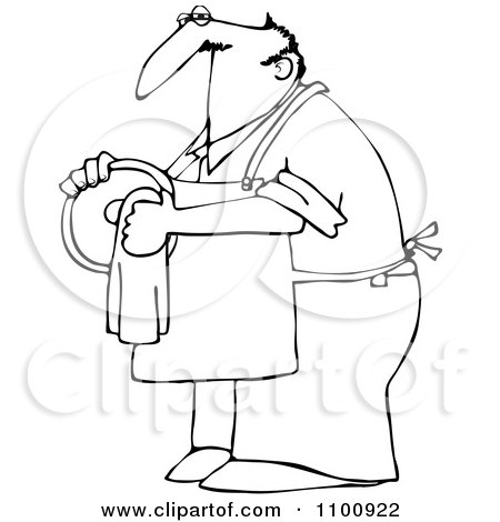 Clipart Outlined House Husband Drying Dishes - Royalty Free Vector Illustration by djart