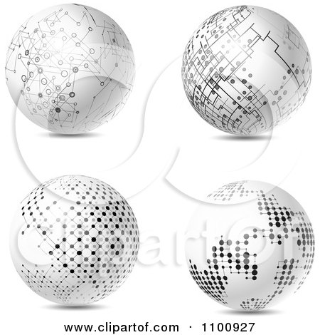 Clipart 3d White Futuristic Spheres With Black Network Dots - Royalty Free Vector Illustration by KJ Pargeter