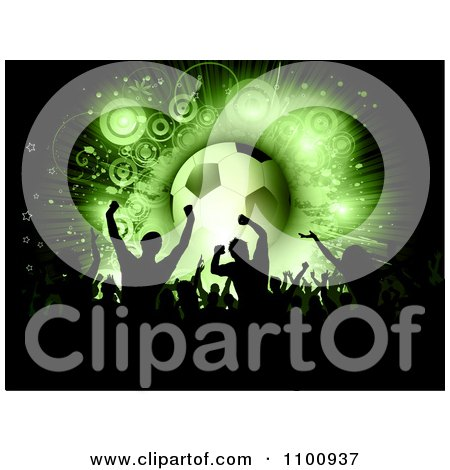 Clipart Silhouetted Soccer Fan Crowd Cheering With A Green Glowing Ball On Black - Royalty Free Vector Illustration by KJ Pargeter