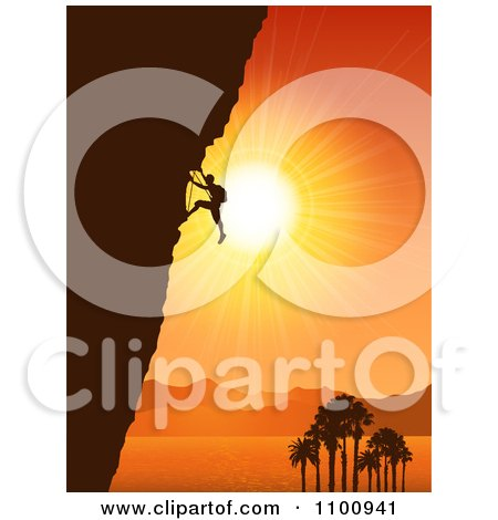 Clipart Silhouetted Rock Mountain Climber Against An Orange Tropical Coastal Sunset - Royalty Free Vector Illustration by KJ Pargeter