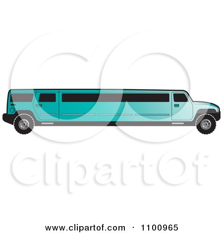 Clipart Turquoise Stretch Limo Hummer - Royalty Free Vector Illustration by Lal Perera