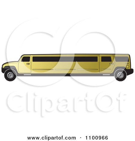 Clipart Gold Stretch Limo Hummer - Royalty Free Vector Illustration by Lal Perera