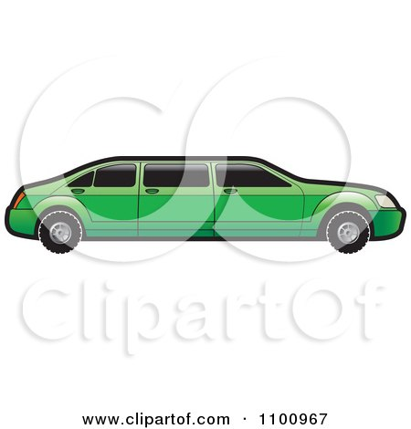 Clipart Green Stretch Limo Car - Royalty Free Vector Illustration by Lal Perera