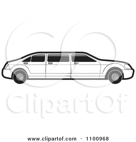 Clipart Black And White Stretch Limo Car - Royalty Free Vector Illustration by Lal Perera