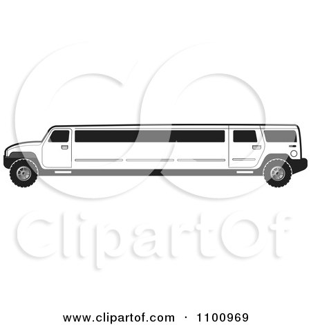 Clipart Black And White Stretch Limo Hummer - Royalty Free Vector Illustration by Lal Perera