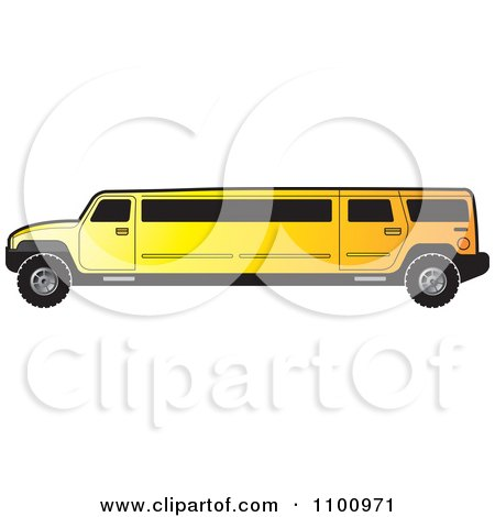 Clipart Yellow Stretch Limo Hummer - Royalty Free Vector Illustration by Lal Perera
