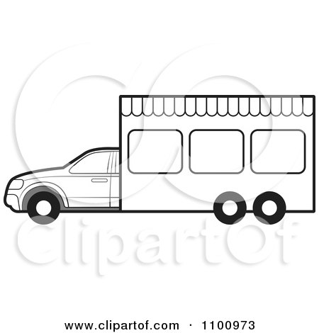 Clipart Outlined Portable Vendor Van - Royalty Free Vector Illustration by Lal Perera
