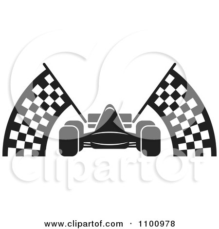 Clipart Black And White Race Car With Checkered Flags - Royalty ...