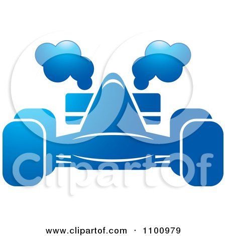 Clipart Blue Race Car With Smoke - Royalty Free Vector Illustration by Lal Perera