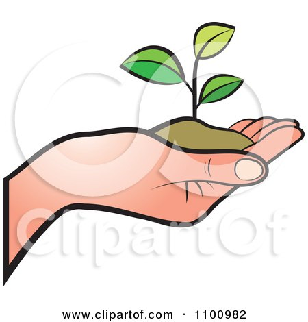 Clipart Human Hand Holding A Plant In Soil Royalty Free