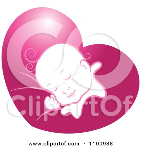 Clipart Sleeping Baby In Pink Heart - Royalty Free Vector Illustration by Lal Perera