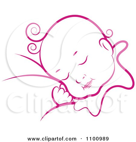 Clipart Pink Sleeping Baby - Royalty Free Vector Illustration by Lal Perera